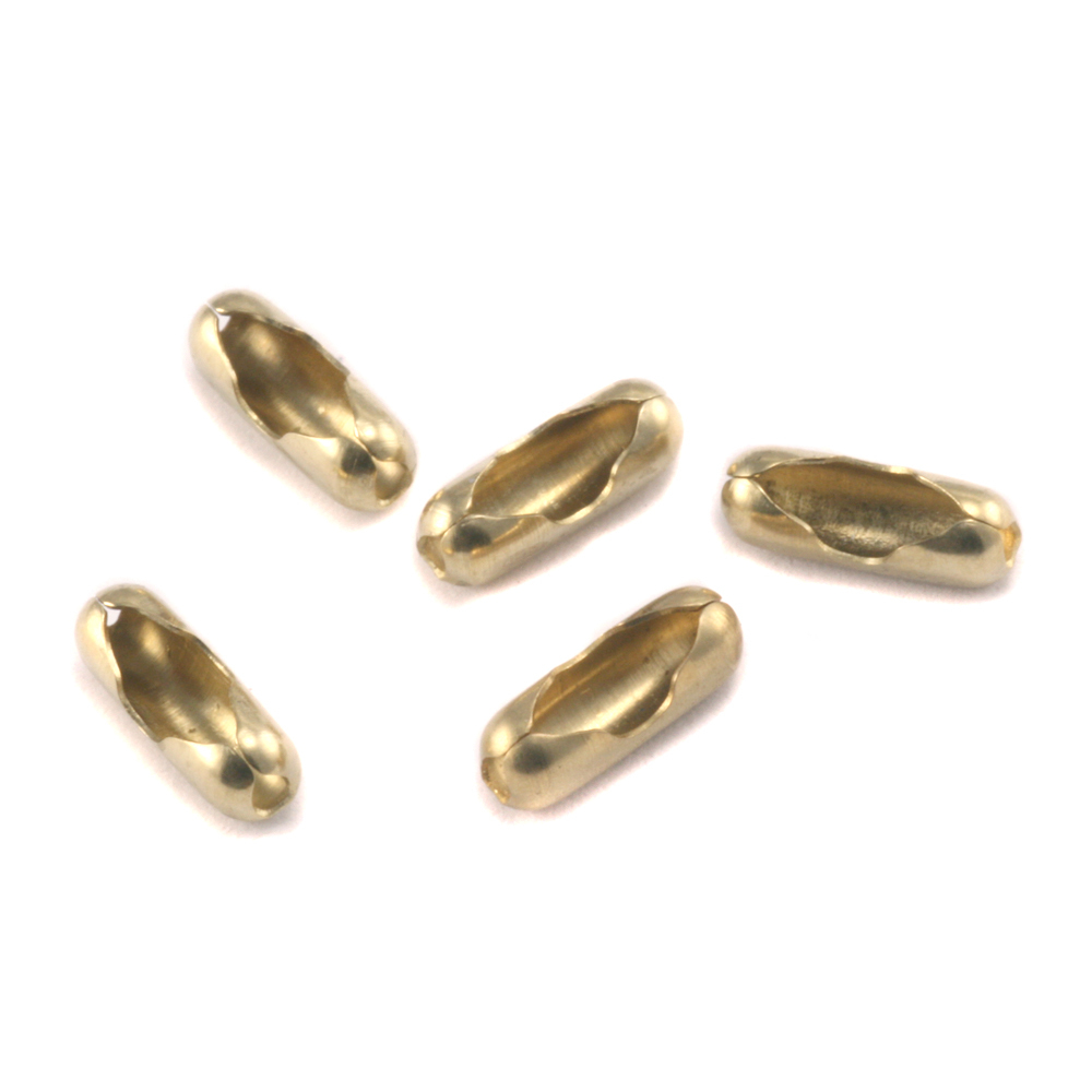 Chain & Clasps Yellow Brass Ball Chain Clasps / Connectors for 1.5-2mm Chain, Pack of 5